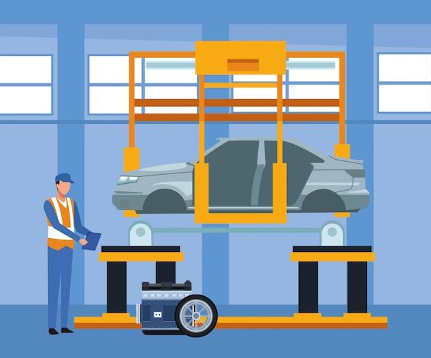 Sceneria warsztatu samochodowego z mechanikiem stojącym i maszyną z podniesionym samochodem i częściami samochodowymi