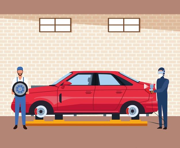 Sceneria warsztatu samochodowego z mężczyzną malującym czerwony samochód i mechanik trzymający oponę samochodową