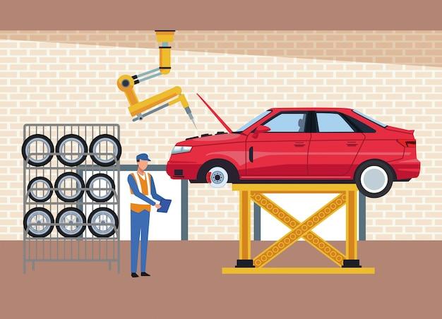 Sceneria warsztatu samochodowego z podniesionym samochodem, bagażnikiem na opony samochodowe i nadzorem mechanika
