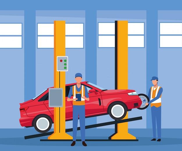Sceneria warsztatu samochodowego z podniesionym samochodem i stojącym mechanikiem