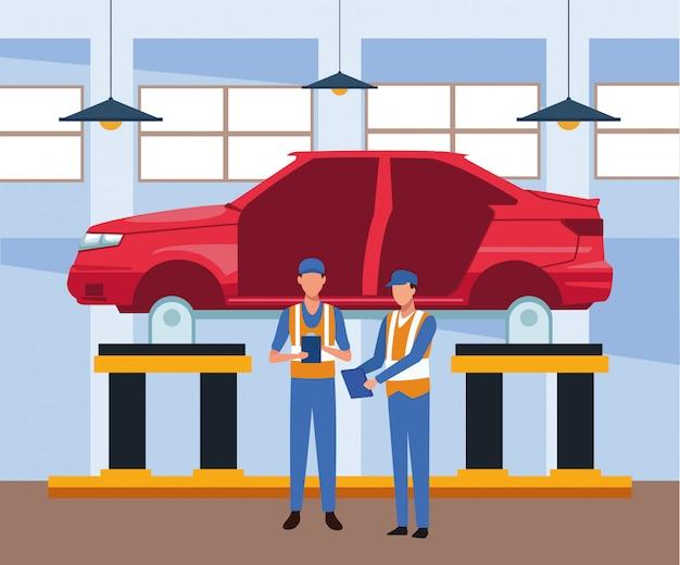 Sceneria warsztatu samochodowego z podniesionymi mechanikami stojącymi nad samochodem