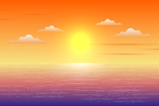 Sceneria zachód lub wschód słońca w krajobrazie oceanu