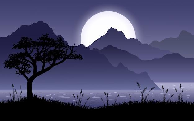 Sceniczny nocny krajobraz ze wzgórzami, jeziorem i sylwetką drzewa