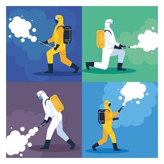 Scenografia, dezynfekcja domu przez komercyjne usługi dezynfekujące, pracownicy dezynfekcji w kombinezonach ochronnych i sprayu zapobiegającym covid 19