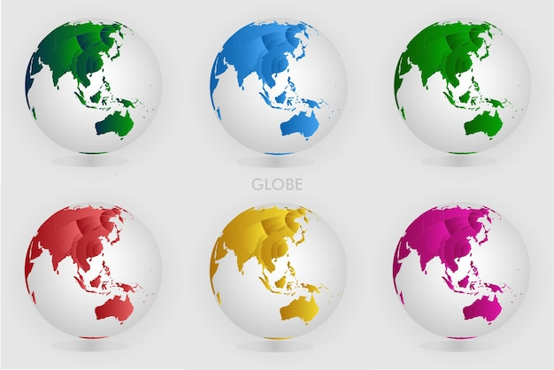 Scenografia globu ziemi mapa wektorowa