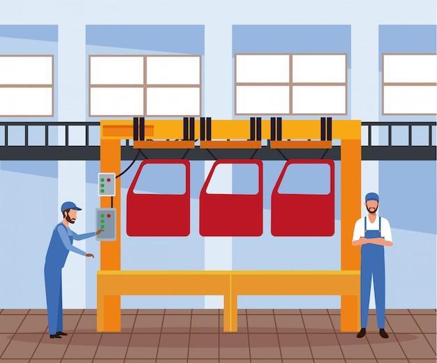 Scenografia warsztatu samochodowego z maszyną z drzwiami samochodowymi i nadzorem mechanika