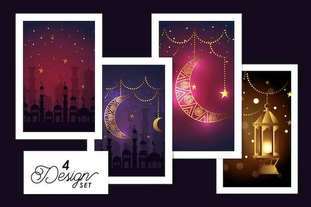 Scenografia wiszące lampiony i dekoracja kareem ramadan