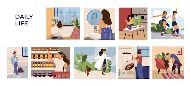 Sceny działań kobiety. kreskówka wyciągnąć rękę młoda dziewczyna charakter wypoczynku, pracy i rutyny. ilustracji wektorowych