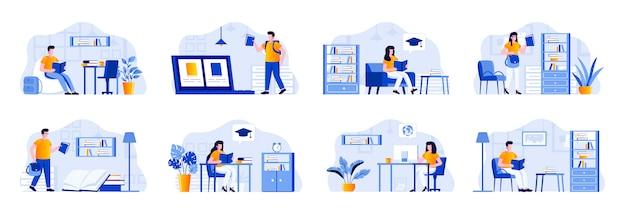 Sceny edukacyjne łączą się z postaciami ludzi. program kształcenia na odległość na uniwersytecie, studenci studiujący w bibliotece, czytający książki w sytuacjach domowych. platforma edukacji online płaski ilustracja.