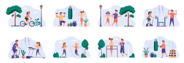 Sceny fitness łączą się z postaciami ludzi
