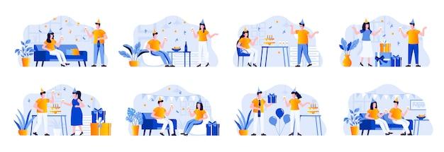 Sceny imprezowe zawierają postacie ludzi. przyjaciele świętują, gratulują i prezentują, wspólnie bawią się sytuacjami. przyjęcie urodzinowe z świąteczną dekoraci mieszkania ilustracją.