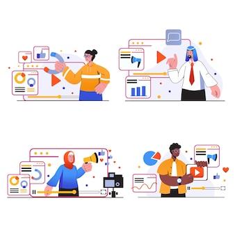 Sceny koncepcji marketingu wideo ustawiają ludzi tworzą treści wideo analizują dane tworząc reklamy