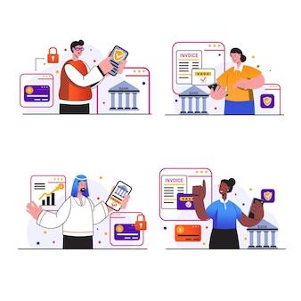 Sceny koncepcyjne bankowości mobilnej sprawiają, że ludzie dokonują transakcji finansowych za pomocą aplikacji mobilnej