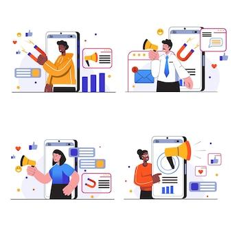 Sceny koncepcyjne marketingu w mediach społecznościowych ludzie prowadzą kampanię reklamową w sieciach społecznościowych