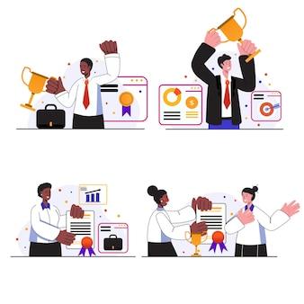 Sceny koncepcyjne nagród biznesowych wyznaczają ludzi świętujących rozwój kariery i osiąganie celów w pracy