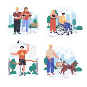 Sceny koncepcyjne osób niepełnosprawnych zestaw ilustracji wektorowych postaci