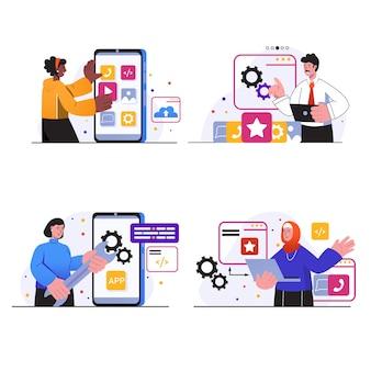 Sceny koncepcyjne rozwoju aplikacji ustawiają ludzi tworzących makiety interfejsu aplikacji mobilnych