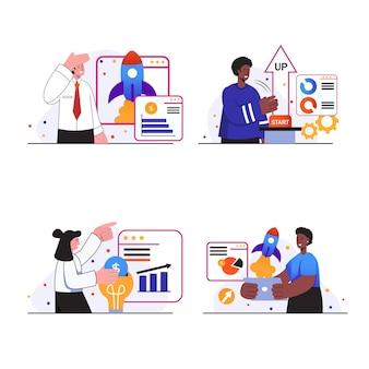 Sceny koncepcyjne start-upów biznesowych wyznaczają ludzi, którzy uruchamiają nowy projekt biznesowy, wdrażają ulepszenia