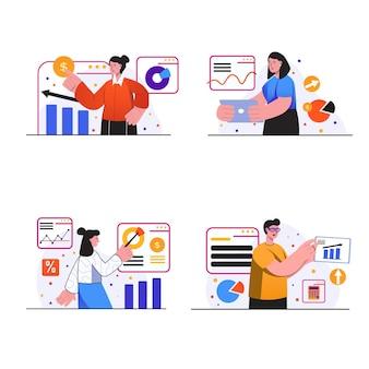Sceny koncepcyjne wydajności sprzedaży ustawiają ludzi analizują dane i rozliczają statystyki finansowe
