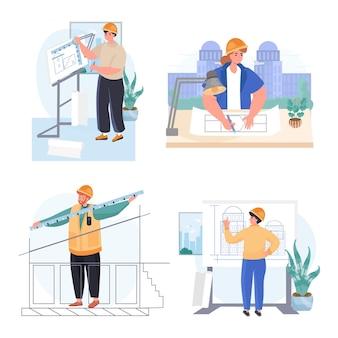 Sceny koncepcyjne zawodu architektów ustawiają ilustrację wektorową postaci