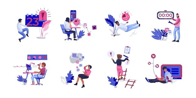 Sceny ludzi organizujących pracę ilustracyjną
