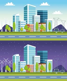 Sceny miejskie budynków i paneli słonecznych