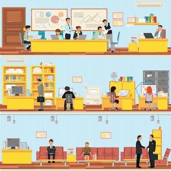 Sceny osób pracujących w biurze.