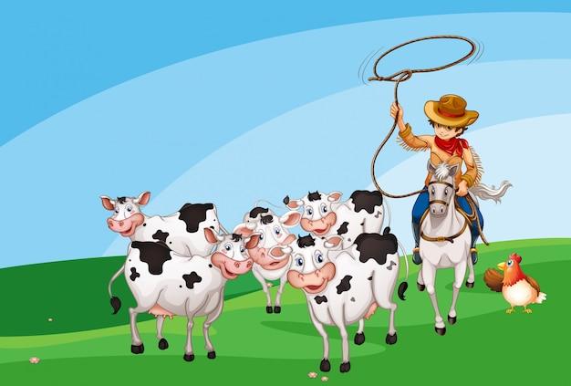 Sceny rolnicze w stylu cartoon zwierząt gospodarskich