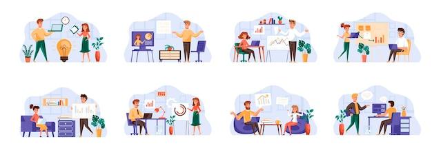 Sceny spotkań biznesowych łączą się z postaciami ludzi