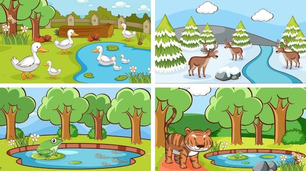 Sceny tła przedstawiające zwierzęta na wolności