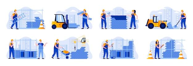 Sceny z placu budowy łączą się z postaciami ludzi. spawacz, malarz, metalowiec i murarz w kaskach w sytuacjach roboczych. profesjonalna inżynieria i budowanie mieszkania ilustracja