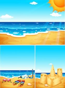 Sceny z plażą i oceanem