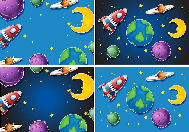 Sceny z rakietami i planetami
