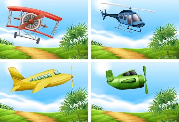Sceny z samolotami na niebie