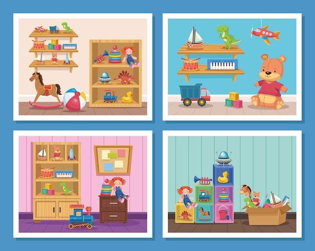 Sceny zabawek dla dzieci