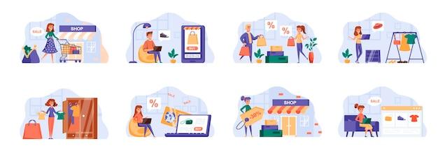 Sceny zakupów zawierają postacie ludzi