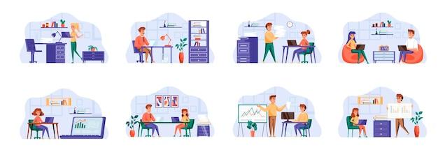 Sceny zarządzania biurem zawierają postacie ludzi