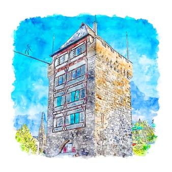 Schelztorturm niemcy szkic akwarela ręcznie rysowane ilustracji