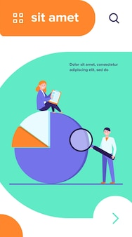 Schemat analizy specjalistów. dwie osoby z formularzem ankiety i lupą, ilustracja wektorowa płaski wykres kołowy