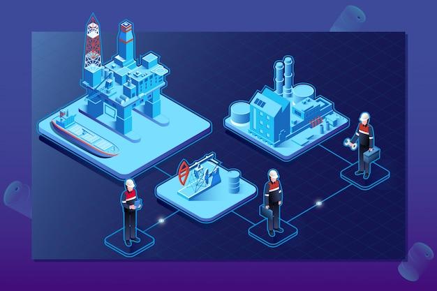 Schemat blokowy izometrycznego przemysłu naftowego z platformą morską
