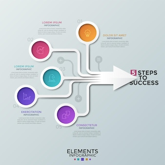 Schemat blokowy, kolorowe okrągłe elementy z liniowymi ikonami w środku połączonymi strzałkami, pola tekstowe. pojęcie 5 cech postępu biznesowego. szablon projektu kreatywnych plansza. ilustracja wektorowa.