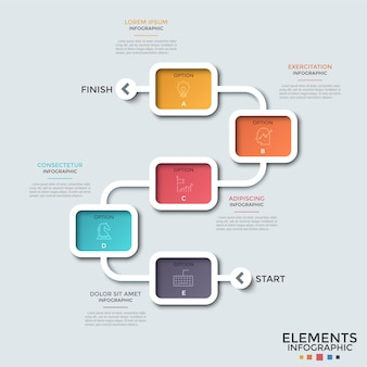 Schemat blokowy. pięć kolorowych prostokątnych elementów z liniowymi symbolami wewnątrz połączonych krzywą linią, start i metę. koncepcja mapy. szablon projektu kreatywnych plansza.