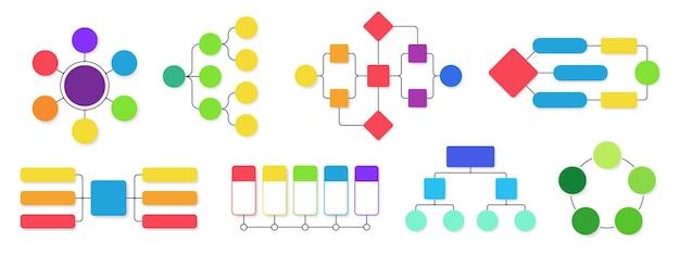 Schemat blokowy. schematy przepływu pracy, strukturalny wykres infografiki biznesowej i przepływające diagramy na białym tle zestaw.