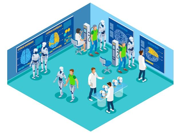 Schemat blokowy z widokiem futurystycznego laboratorium z postaciami pacjentów-naukowców i droidów