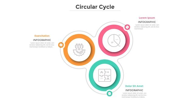 Schemat cykliczny z 3 papierowymi białymi okrągłymi elementami. cykl biznesowy z trzema krokami lub etapami. prosty szablon projektu plansza. płaska ilustracja wektorowa do wizualizacji funkcji projektu.