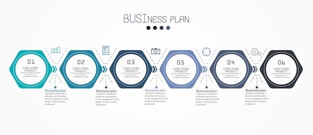 Schemat edukacji. jest 6 kroków, poziom użyj wektorów w projekcie