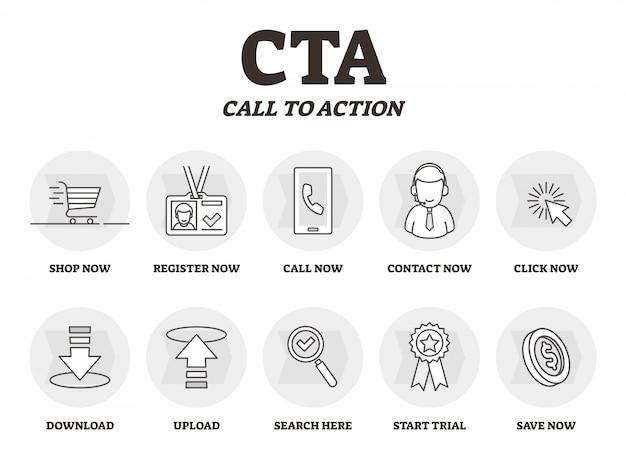 Schemat edukacyjny marketingu marketingowego cta lub call to action