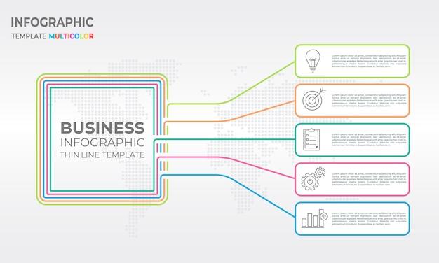 Schemat infographic szablon 5 opcji