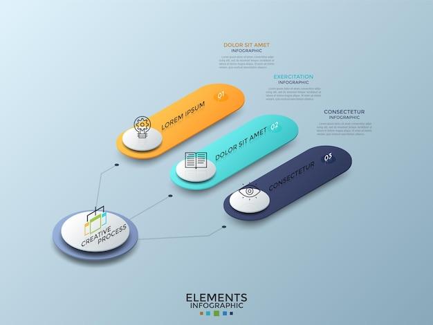 Schemat izometryczny z 3 kolorowymi ponumerowanymi zaokrąglonymi elementami połączonymi z głównym okręgiem, ikonami cienkiej linii i miejscem na tekst. szablon projektu nowoczesny plansza. ilustracja wektorowa do prezentacji.