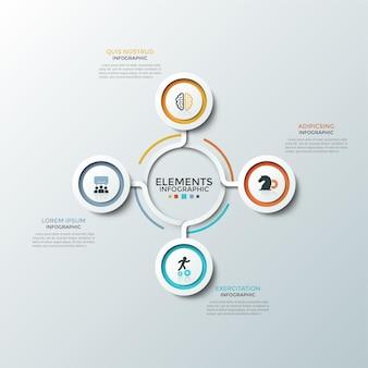 Schemat kołowy. cztery papierowe białe okrągłe elementy z kolorowymi ramkami i płaskimi ikonami umieszczonymi wokół środka. koncepcja 4 aspektów planu startowego. plansza projekt układu. ilustracja wektorowa